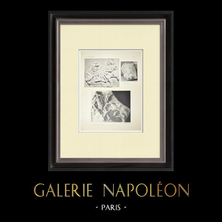 Oude Prenten & Tekeningen | Parthenon - Ionische Fries van Cella - Noordzijde - pl. 115 | Heliogravure | 1912