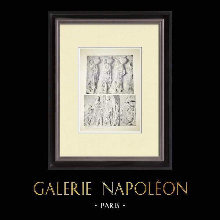 Stare Grafiki & Rysunki | Partenon - Fryz Jonowy Celli - Strona Północna - pl. 117 | Heliograwiura | 1912