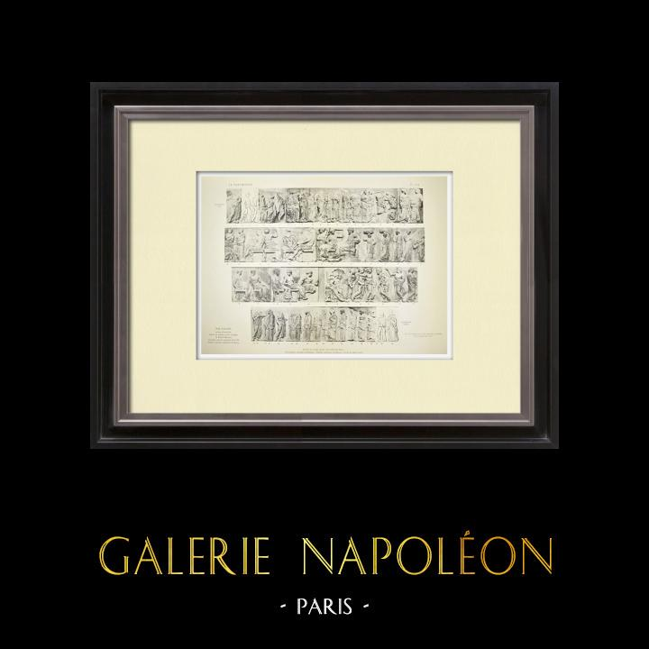 Alte Stiche & Zeichnungen | Parthenon - Ionenfries von Cella - Ostseite - Übersicht - Pl. 119 | Heliogravüre | 1912