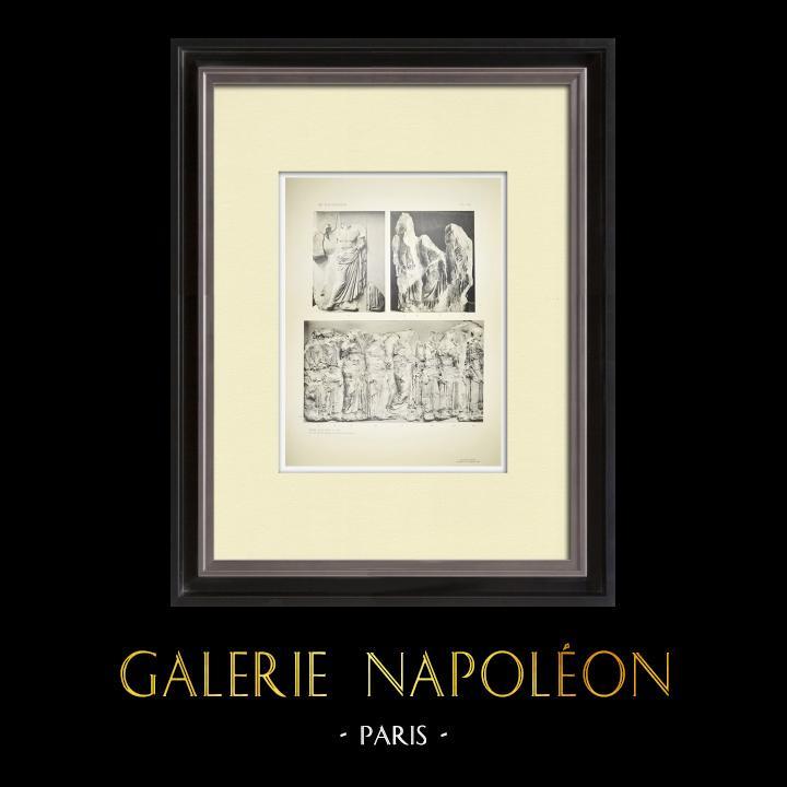 Grabados & Dibujos Antiguos | Partenón - Friso jónico de la Cella - Lado este - Pl. 120 | Heliograbado | 1912