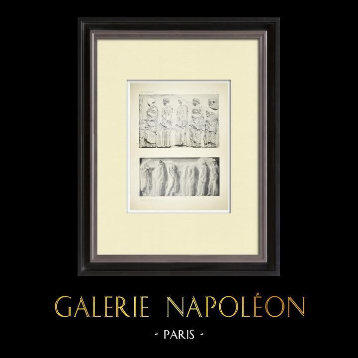 Oude Prenten & Tekeningen | Parthenon - Ionische Fries van Cella - Oostzijde - pl. 123 | Heliogravure | 1912