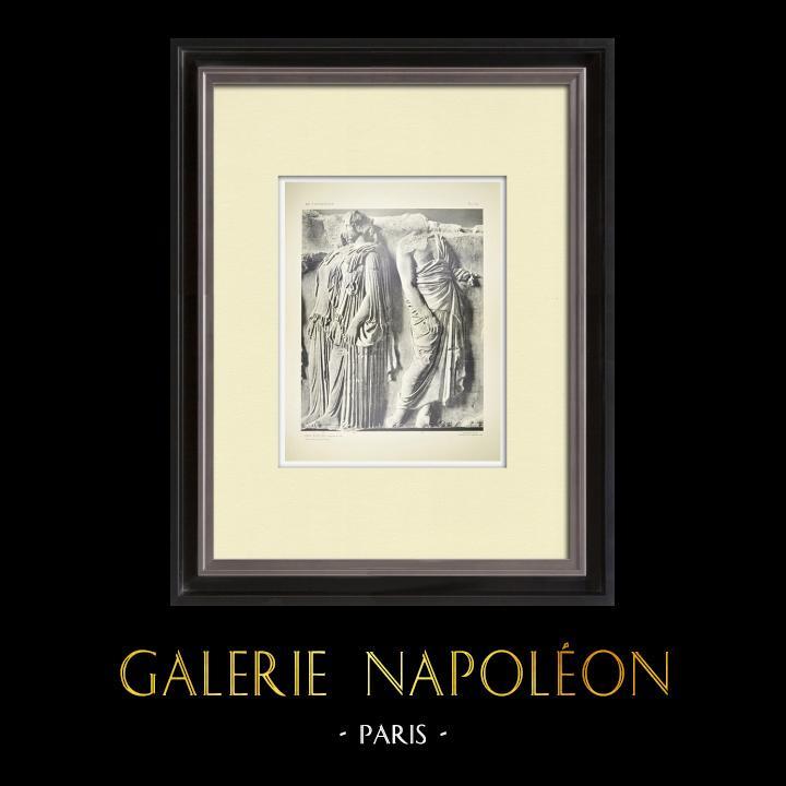 Grabados & Dibujos Antiguos | Partenón - Friso jónico de la Cella - Lado este - Pl. 124 | Heliograbado | 1912