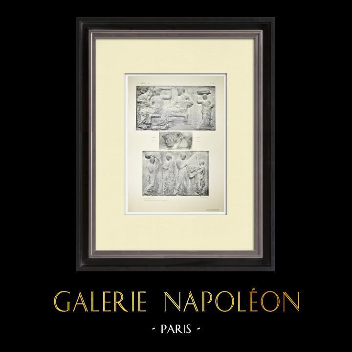 Stare Grafiki & Rysunki | Partenon - Fryz Jonowy Celli - Strona Wschodnia - pl. 127 | Heliograwiura | 1912
