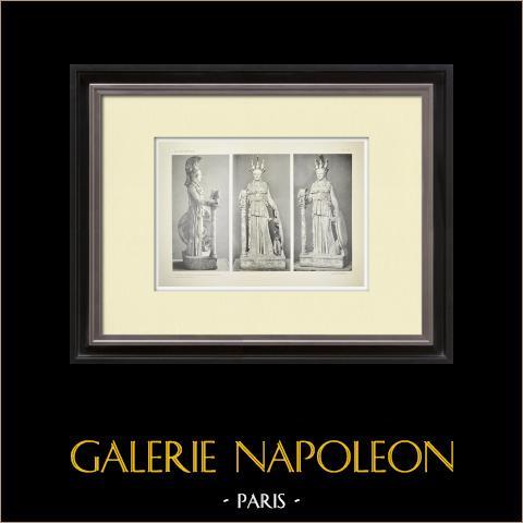Parthenon - Staty av Athena Parthenos - Fidias - Pl. 136 | Original heliogravyr. Anonym. 1912