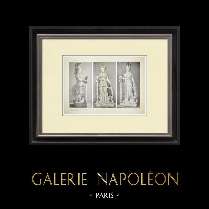 Grabados & Dibujos Antiguos | Partenón - Estatua de Atenea Partenos - Fidias - Pl. 136 | Heliograbado | 1912