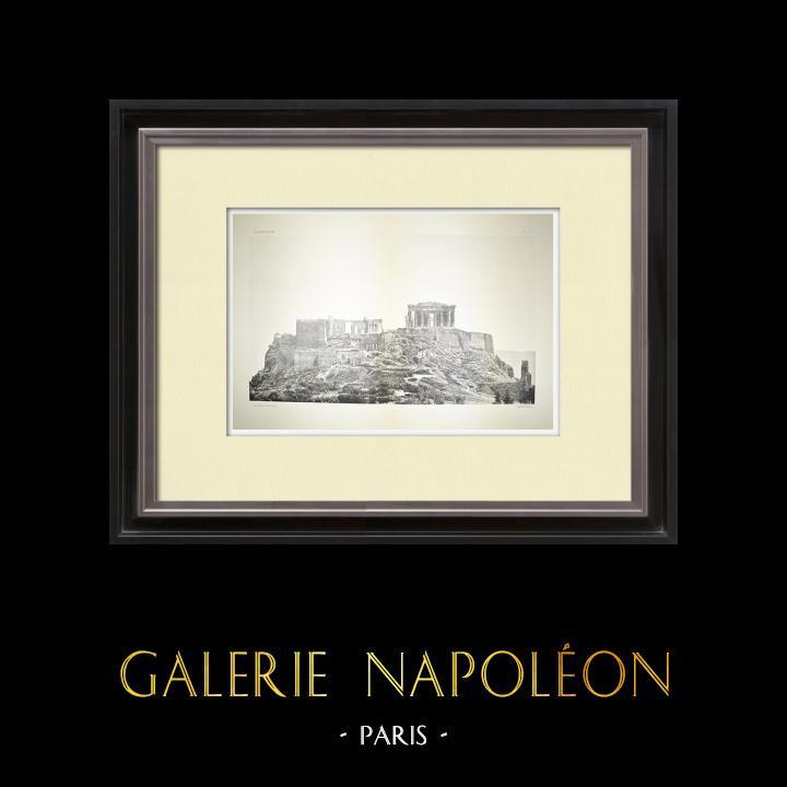 Alte Stiche & Zeichnungen | Akropolis in Athen - Westseite - Pl. 2-3 | Heliogravüre | 1912