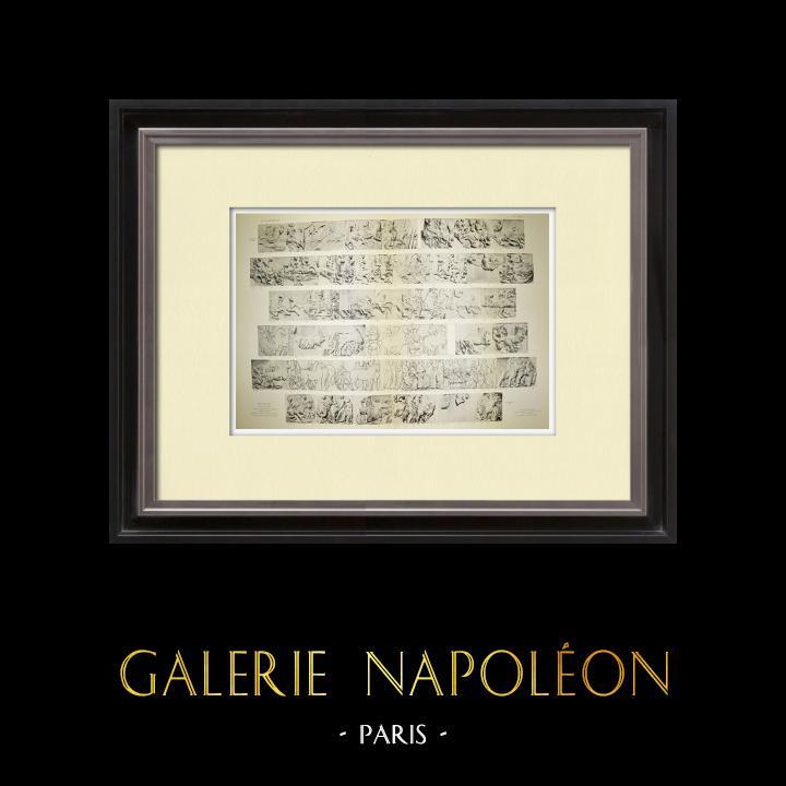 Alte Stiche & Zeichnungen | Parthenon - Ionenfries von Cella - Südlich Seite - Pl. 86-87 | Heliogravüre | 1912