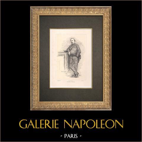 Portrait de Pierre Véron (1831-1900) | Typogravure originale dessinée par Brouillet, gravée par Genty. 1890