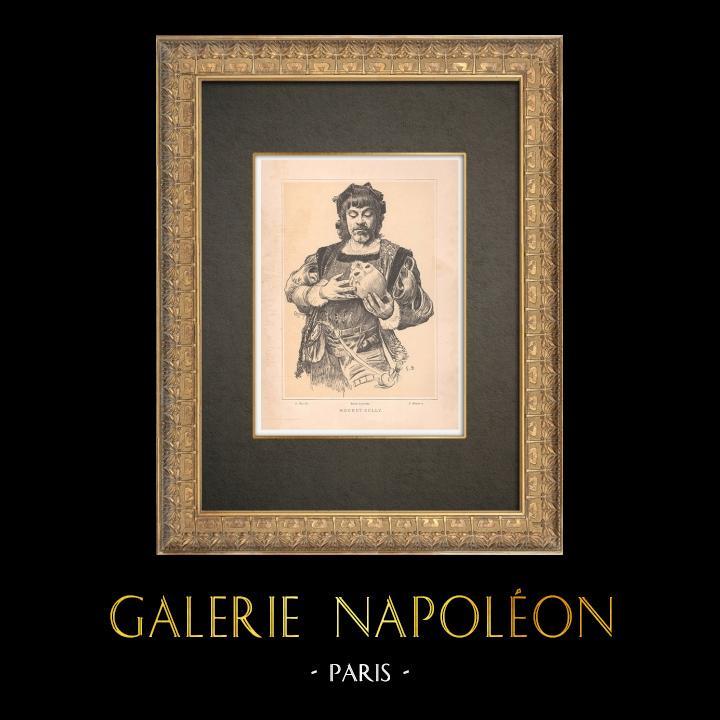 Gravures Anciennes & Dessins   Portrait de Mounet-Sully (1841-1916)   Typogravure   1890