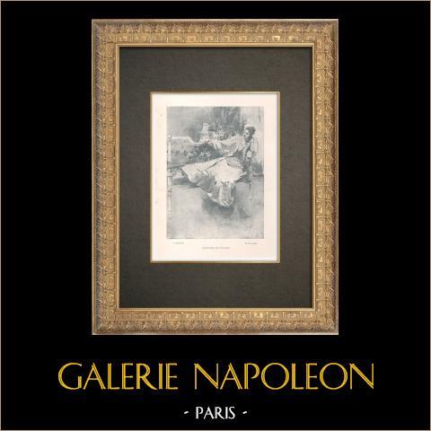 Portrait of Gabrielle Réjane (1856-1920) | Original typogravure drawn by Marold. 1890