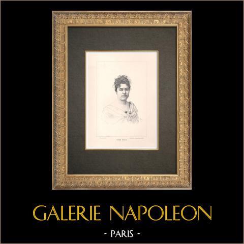 Portrait of Marie Delna (1875-1932) | Original typogravure engraved by Florian after Nadar. 1890