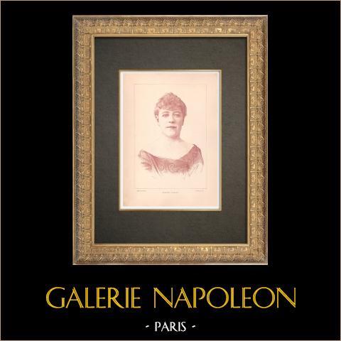 Porträtt av Jeanne Samary (1857-1890) | Original typogravyr efter teckning av Paraire, graverade av Michelet. 1890