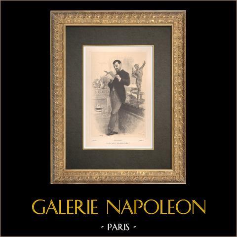 Ritratto di Gustave Larroumet (1852-1903) | Typogravure originale disegnata da Guth, incisa da Boileau. 1890