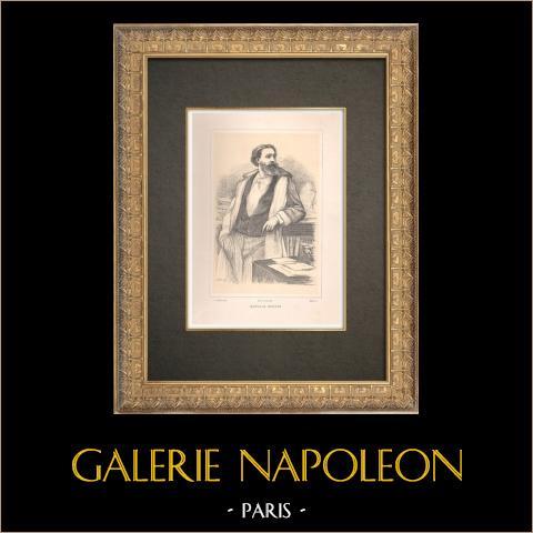 Portrait de Catulle Mendès (1841-1909) | Typogravure originale dessinée par Métivet, gravée par Ruffe. 1890