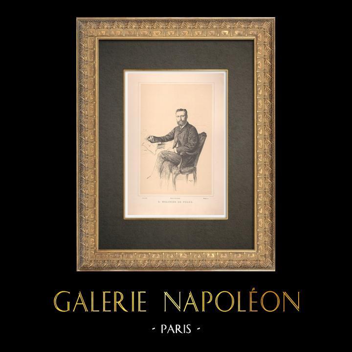 Gravures Anciennes & Dessins   Portrait de Eugène-Melchior de Vogüé (1848-1910)   Typogravure   1890