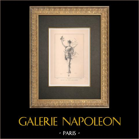 Bailarina - La Dama di Monsoreau - Ballet (1888) | Typograbado original dibujado por Guth, grabado por Thiriat. 1890