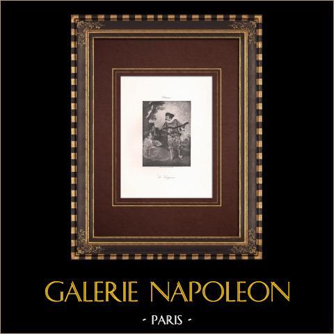 Le Lorgneur (Antoine Watteau) | Original heliogravure after Watteau. 1890
