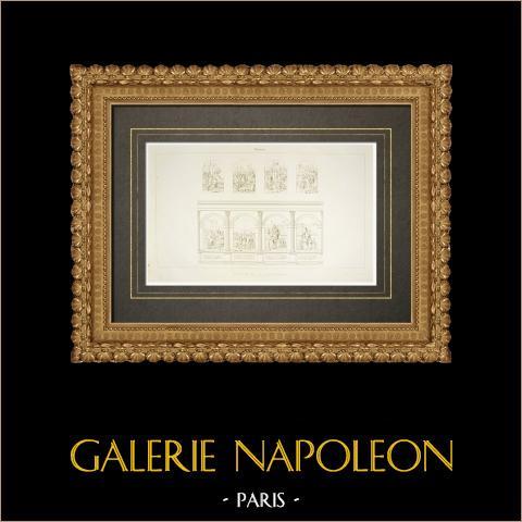 Catedral Notre-Dame-de-l'Annonciation de Moulins - Vitrales (Francia) | Grabado original en talla dulce sobre cobre grabado por Normand fils. 1838
