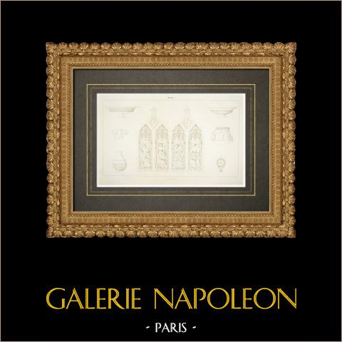 Catedral Notre-Dame-de-l'Annonciation de Moulins - Vitrales (Francia) | Grabado original en talla dulce sobre cobre. Anónimo. 1838