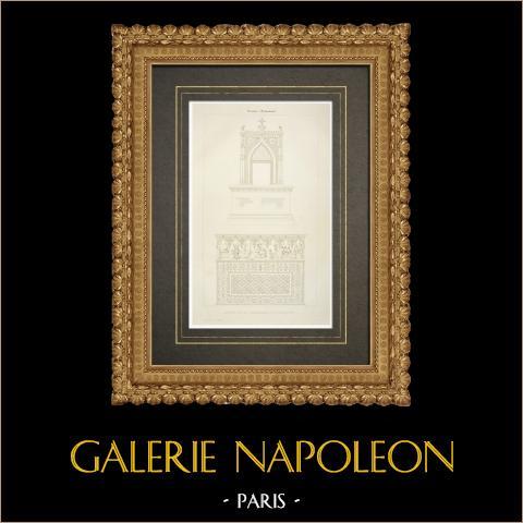 Altar de la Capilla subterránea de Bourbon-l'Archambault - Allier (Francia) | Grabado original en talla dulce sobre cobre grabado por Leroy & Marlier. 1838