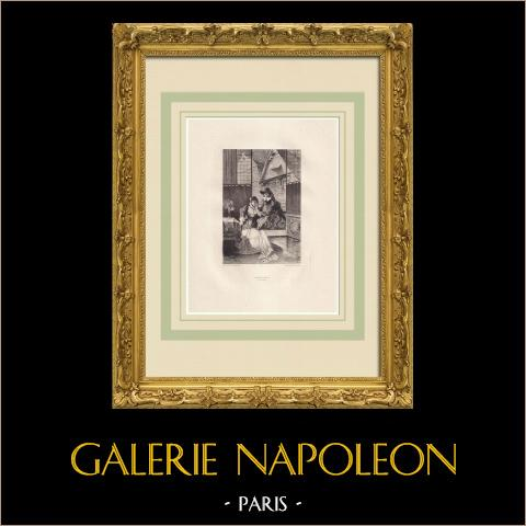 Marion de Lorme - Le Rendez-vous (Victor Hugo) | Grabado al aguafuerte original sobre papel Arches dibujado por Flameng, grabado por Toussaint. 1888