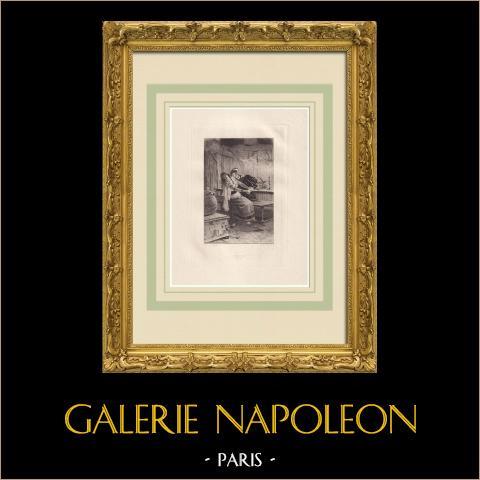 El rey se divierte - Triboulet (Victor Hugo) | Grabado al aguafuerte original sobre papel Arches dibujado por Flameng, grabado por Lalauze. 1888