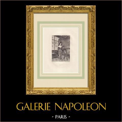 Odes et Ballades - Madeleine (Victor Hugo) | Original ätzradierung auf papier Arches gezeichnet und gestochen von Flameng. 1888