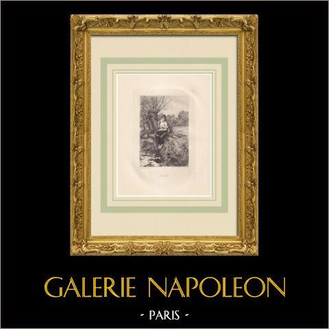 Les Contemplations (Victor Hugo) | Água-forte original sobre papel Arches desenhada por Flameng, gravada por Lefort. 1888