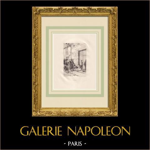 L'Année terrible - criença (Victor Hugo) | Água-forte original sobre papel Arches desenhada por Flameng, gravada por Louveau Rouveyre. 1888