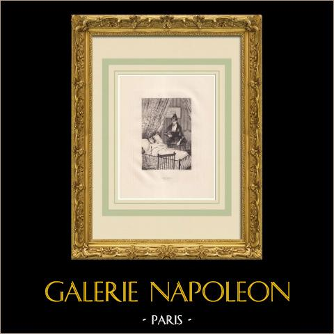 L'Art d'être grand-père - Jeanne (Victor Hugo) | Água-forte original sobre papel Arches desenhada por Flameng, gravada por De Los Rios. 1888