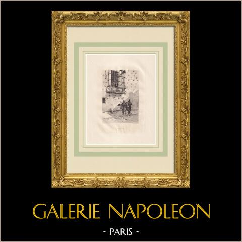 L'Art d'être grand-père - Pepita (Victor Hugo) | Água-forte original sobre papel Arches desenhada por Flameng, gravada por Lefort. 1888