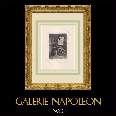 Le Pape - Pobreza (Victor Hugo) | Água-forte original sobre papel Arches desenhada por Flameng, gravada por Lefort. 1888
