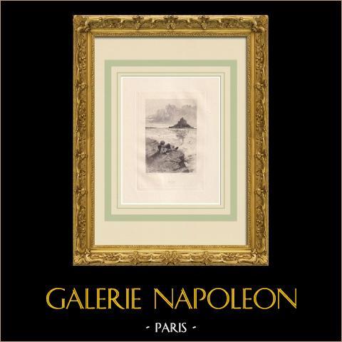 Les Quatre Vents de l'esprit - Mont Saint-Michel (Victor Hugo) | Grabado al aguafuerte original sobre papel Arches dibujado por Flameng, grabado por Louveau Rouveyre. 1888