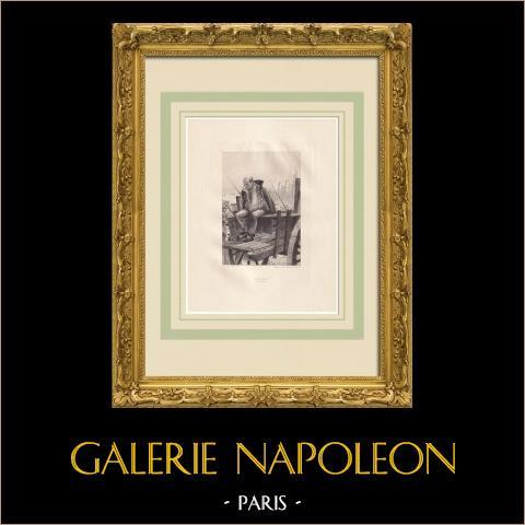 Victor Hugo raconté par un témoin de sa vie - Delaporte | Água-forte original sobre papel Arches desenhada por Flameng, gravada por Louveau Rouveyre. 1888