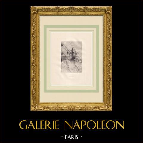 Actes et Paroles - Antes do exílio - Harvey (Victor Hugo) | Água-forte original sobre papel Arches desenhada por Flameng, gravada por Lefort. 1888