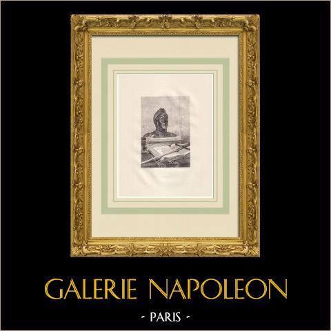 Actes et Paroles - Durante o exílio - Dante (Victor Hugo) | Água-forte original sobre papel Arches desenhada por Flameng, gravada por Lefort. 1888