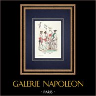 Reggimenti - La Marche (1760) - Hainault - Forez (1770) - Fanteria - Regno di Francia | Incisione xilografica originale incisa da Diolot. Acquerellata a mano. 1850