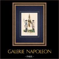 Reggimenti - Dauphin - Perche - Regno di Francia - Fanteria (1789) | Incisione xilografica originale disegnata da Choquet. Acquerellata a mano. 1850