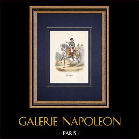 Napoleon Kaiser und die kaiserliche Garde (1804) | Original holzstich gezeichnet von Vernier, gestochen von Lacoste ainé. Handaquarelliert. 1844