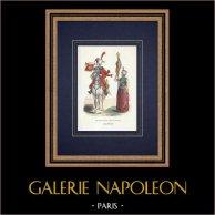 Chasseur à cheval et Mamelouk de la Garde Impériale (1808) | Gravure sur bois originale dessinée par Guerin, gravée par Lacoste ainé. Aquarellée à la main. 1844
