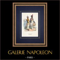 Grenadiers à pied de la Garde impériale - Tambour-major - Tambour (1810) | Gravure sur bois originale dessinée par Bellangé, gravée par Lacoste ainé. Aquarellée à la main. 1844