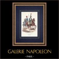 Garde d'honneur de la Garde Impériale - Spaningssoldat - Lätt Kavalleri (1813) | Original träsnitt efter teckning av Lamy, graverade av Lacoste ainé. Akvarell handkolorerad. 1844
