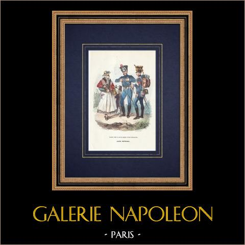 Vivandiere - Train des équipages - Imperial Gardet (1807) | Original träsnitt efter teckning av De Moraine, graverade av Lacoste ainé. Akvarell handkolorerad. 1844