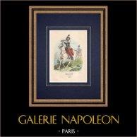 Chasseur à cheval - Trompette - Armée Française - Cavalerie (1848) | Gravure sur bois originale dessinée par Philippoteaux, gravée par Deghouy. Aquarellée à la main. 1850