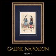 Truppa - Carabiniere (1842) - Volteggiatore (1846) - Fanteria | Incisione xilografica originale disegnata da Philippoteaux, incisa da Deghouy. Acquerellata a mano. 1850