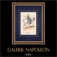 Carabiniers de Monsieur - Kavallerie - Königreich Frankreich | Original holzstich gezeichnet von Vallet. Handaquarelliert. 1850