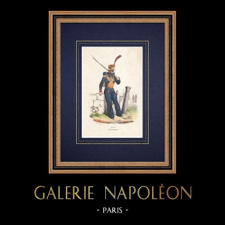 Gravures Anciennes & Dessins | Soldat Napoléonien - Marin de la Garde Impériale (1810) | Gravure sur bois | 1850