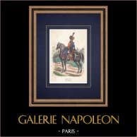 Artillerie à cheval de la Garde Impériale - Uniforme Militaire - Soldat Napoléonien | Gravure sur bois originale dessinée par Bellangé, gravée par Cherrier. Aquarellée à la main. 1850