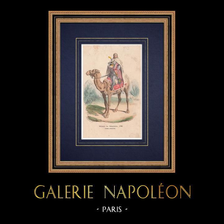 Gravures Anciennes & Dessins   Régiment de dromadaires - Cavalerie - Bonaparte - Campagne d'Egypte (1799)   Gravure sur bois   1850