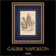 Régiment de dromadaires - Cavalerie - Bonaparte - Campagne d'Egypte (1799) | Gravure sur bois originale dessinée par Bellangé, gravée par Andrew Best & Leloir. Aquarellée à la main. 1850